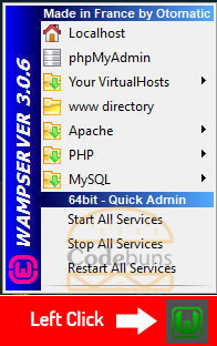 wampserver menu left click