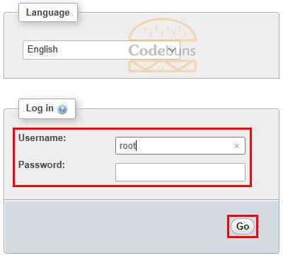 phpmyadmin login screen