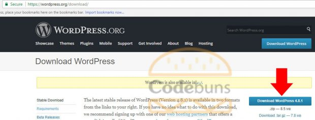 download wordpress button