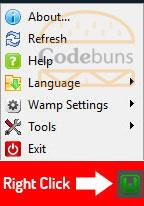 wampserver menu right click