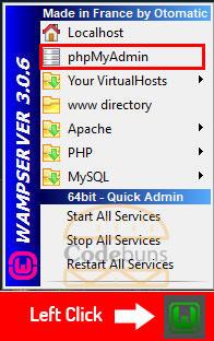 wampserver left click menu phpmyadmin