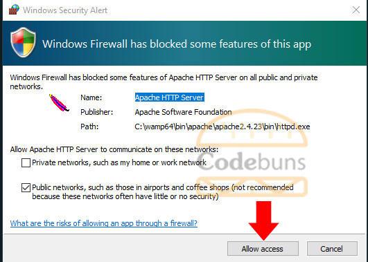 wampserver firewall message